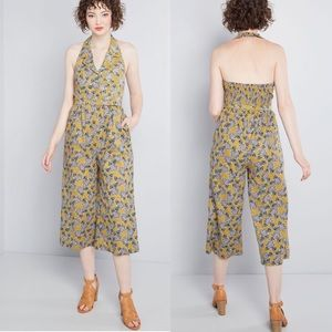 Modcloth Floral Belted Pin Up Style Jumpsuit NEW